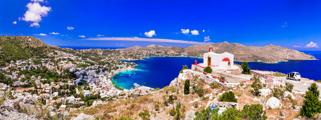 Traditional authentic Greece - beautiful island Leros in Dodecanese, view with little church and Agia marina village