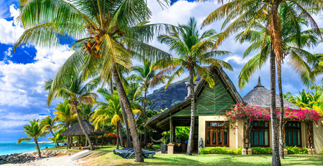 Fototapete - Tropical paradise - exotic luxury vacation in Mauritius island, beach villa under palms