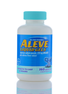 IRVINE, CALIF - SEPT 12, 2018: Aleve Liquid Gels Naproxen Sodium pain reliever from Bayer