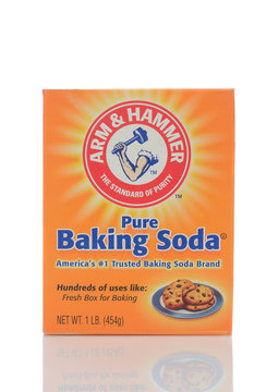 IRVINE, CALIFORNIA - MAY 22, 2019:  A box of Arm and Hammer Baking Soda cleans, freshens and deodorizes, and has countless personal care and household uses.