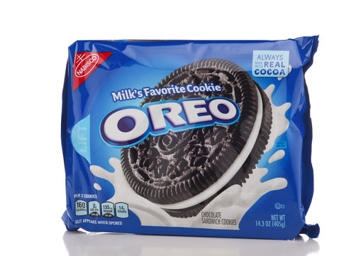 IRVINE, CALIFORNIA - APRIL 30, 2019: A package of Oreo Cookies from Nabisco. Milks Favorite Cookie.