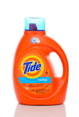 IRVINE, CALIFORNIA - MAY 22, 2019:  A 100 ounce bottle of Tide Clean Breeze Laundry Detergent.