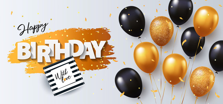 Happy Birthday card. Holiday illustration with gift box, black and gold balloons, confetti and texture of golden brush strokes on a white background. Birthday day poster design, social and fashion ads