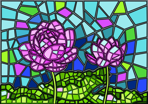 Lotus flower Stained glass background illustration vector