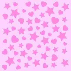 heart star abstract texture Pettern wallpaper design on pink background Vector illustration