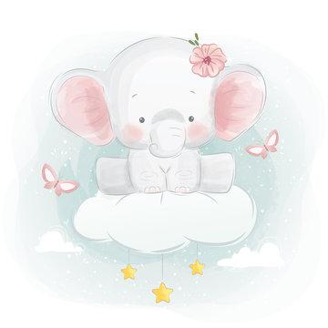 Cute Elephant Sitting on Cloud