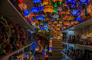 Traditional colorful Turkish oriental lamps and ceramics for sale in at a souvenir shop in Kotor old town in Montenegro
