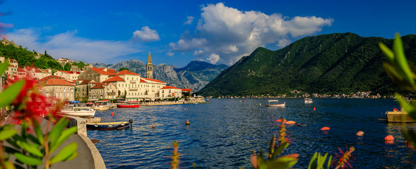 Scenic panorama of the postcard perfect historic town of Perast in Kotor Bay on a sunny day in the summer, Montenegro