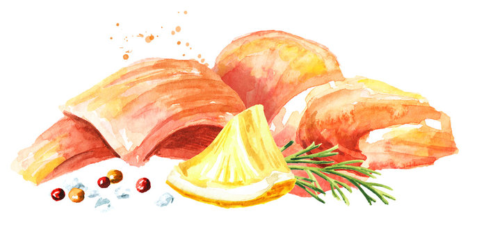 Smoked salmon with lemon and spices. Watercolor hand drawn illustration, isolated on white background