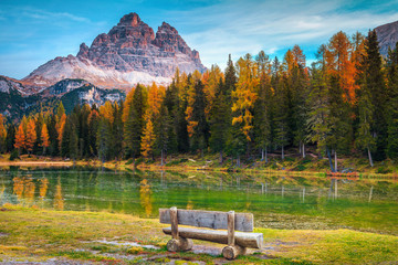 Wall Mural - Breathtaking alpine lake with high peaks in background, Dolomites, Italy