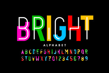 Bright, colorful style font design, creative alphabet, letters and numbers Fotoväggar
