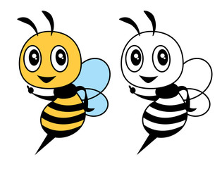 Cartoon cute bee colouring tutorial for children. Colouring book for kid and children - Vector