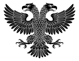 Double headed eagle with two heads possibly a Roman Russian Byzantine or imperial heraldic symbol
