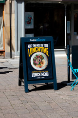 Boston Tea Party sandwich board advertising new lunchtime menu