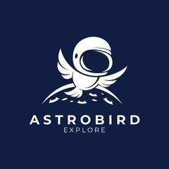 astronaut bird logo.flat style.moon space vector.modern design