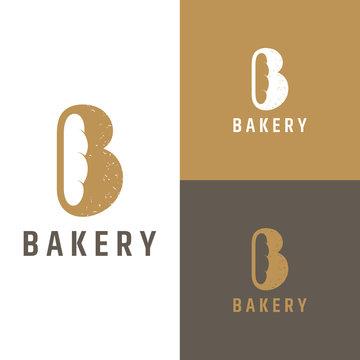 letter b for bakery logo.flat style.bread vector.modern logo design