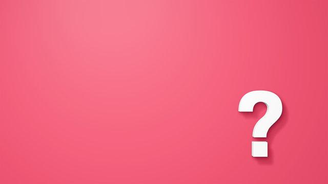 クエスチョンマークの3Dレンダリング画像。はてなマーク。