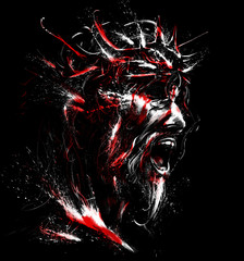 The blood-stained portrait of Jesus with thorns on his head . 2D illustration