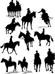 Horse riders silhouettes. Vector illustration