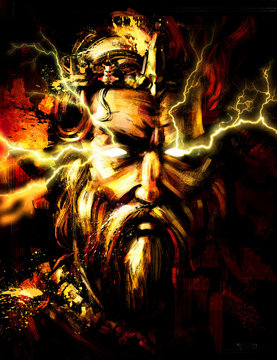 Portrait of Zeus with lightning from his eyes . 2D illustration