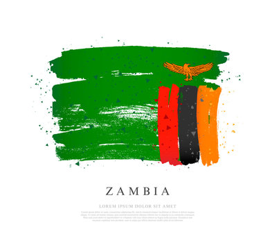 Flag of Zambia. Brush strokes are drawn by hand.