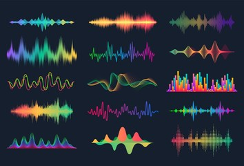 Sound waves. Frequency audio waveform, music wave HUD interface elements, voice graph signal. Vector audio electronic color wave set Fotobehang