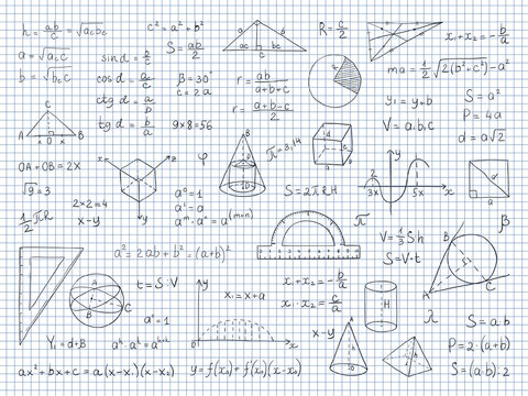 Doodle math. Physics and geometry formulas end equations, school science graphs and trigonometry. Vector hand drawn math signs for calculation and learning student on white background