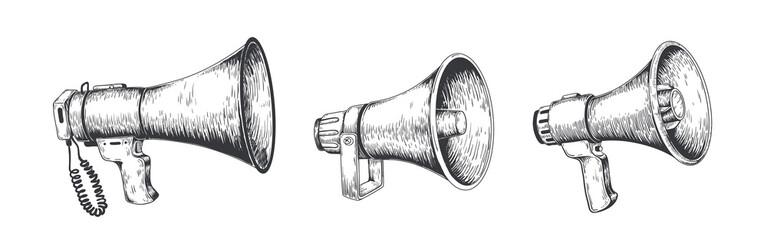 Vintage megaphone. Hand drawn loud speaker for announcements, bullhorn sketch news or public attention. Vector loudspeaker broadcast announcement set Wall mural