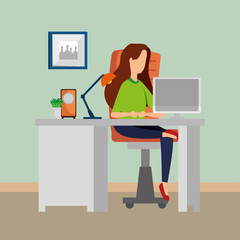 woman in office workplace scene with desktop