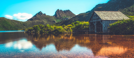 Beautiful scene of Cradle mountain peak from Dove lake in Cradle Mountain National Park, Tasmania, Australia. Wall mural