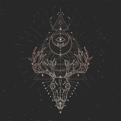 Vector illustration with hand drawn Deer skull and Sacred geometric symbol on black vintage background. Abstract mystic sign.