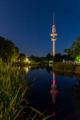 Hamburg Panorama with the sky needle and colored water games