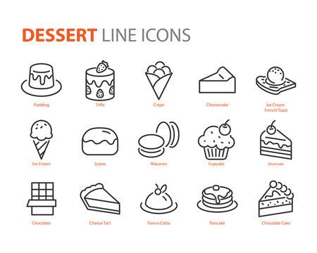 set of dessert icons, sweet, bakery, cake