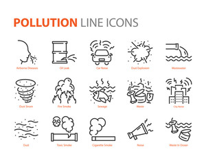 set of pollution icons, smoke, leak, noise