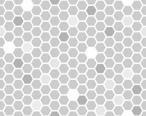 Poster Geometric Hexagon seamless pattern. Grayscale random shade honeycomb line repeatable background.