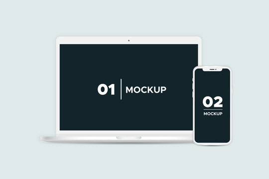 Laptop and smartphone mockup isolated on background.