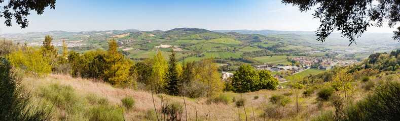 Panoramic View of the Montefeltro hills from the small village of Belvedere Fogliense in the Marche region of Italy. Wall mural