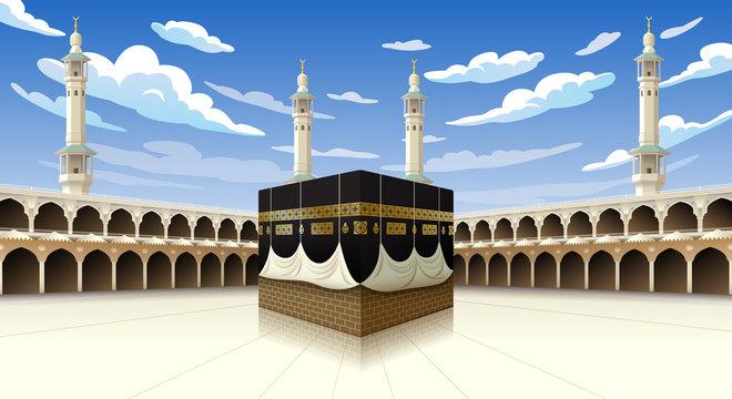 Panoramic of Kaaba for hajj steps in Al-Haram Mosque Mecca Saudi Arabia, vector illustration on blue sky with clouds - Eid Adha Mubarak