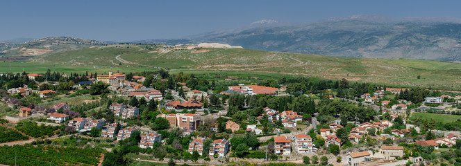 Panoramic view of Metula -  the most northern town in Israel