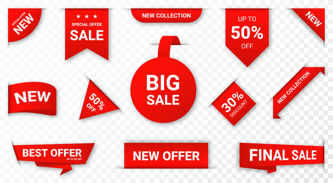 Set of new stickers, sale tags and labels. Shopping stickers and badges for merchandise and promotion, special offer, new collection, discount etc. Red stickers for web banners with transparent shadow