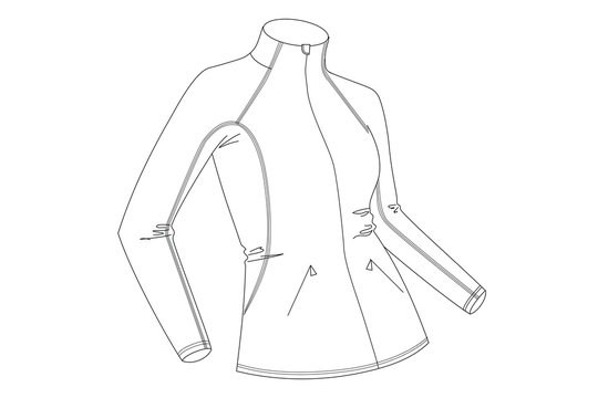 Technical drawing of woman's jacket. 3D illustration. Line art vector. Sportswear sketch. Fashion illustration. Lady's softshell jacket.