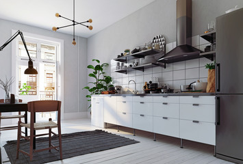 modern scandinavian style kitchen interior.
