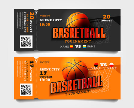Basketball match entrance torn-off tickets with ball and basket and big typography
