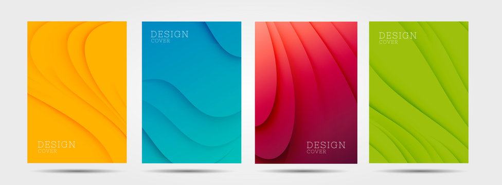 Set of colourful posters with abstract waves graphic in four colours: yellow, red, blue, green