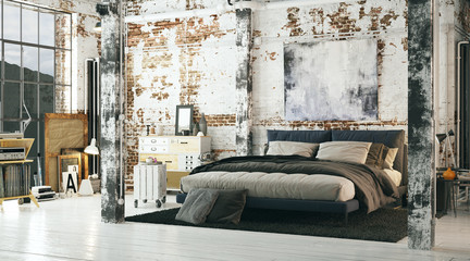 Old vintage industrial bed in loft apartment with brick walls