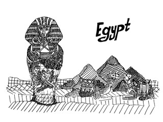 postcard with the sarcophagus of the pharaoh and the pyramids color