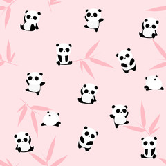Cute cartoon panda bear seamless pattern, animals on background with bamboo leaf, for kids