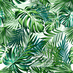 Keuken foto achterwand Tropische Bladeren Beautiful tropical pattern with green palm leaves for design ideal for fabric design