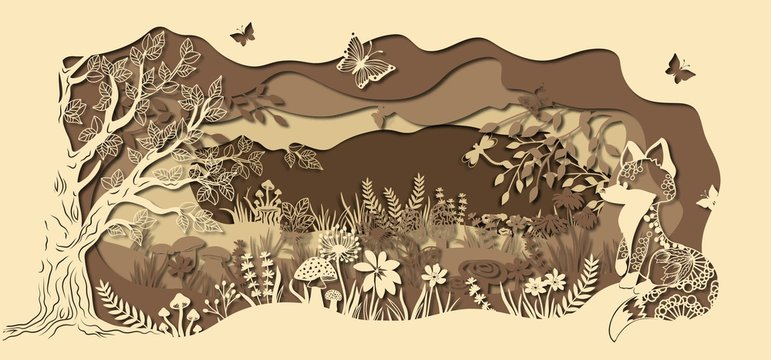 Template fox on glade for to cut with a laser from paper. Line with mushrooms, grass, and butterflies, wood and flowers. For decoration and design. Template for laser cutting and Plotter. Vector illus