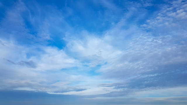 beautiful blue sky with cirrus clouds